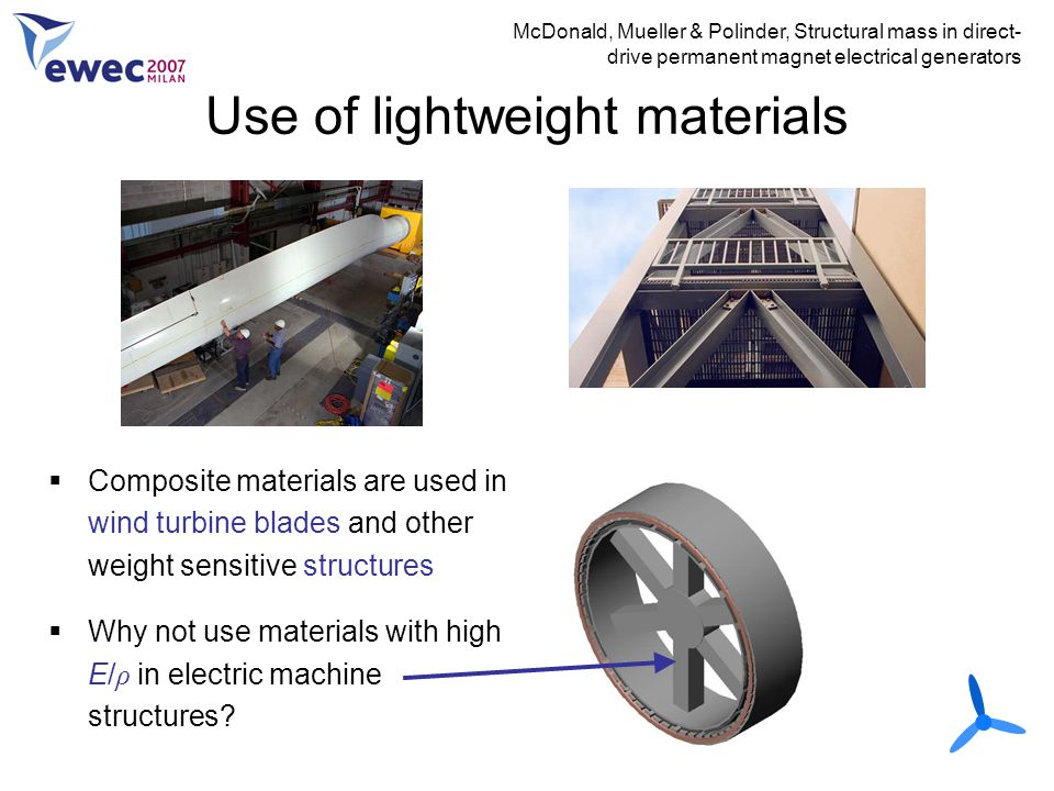 Use of lightweight materials McDonald, Mueller & Polinder, Structural mass in direct- drive permanent magnet electrical generators  Composite materia