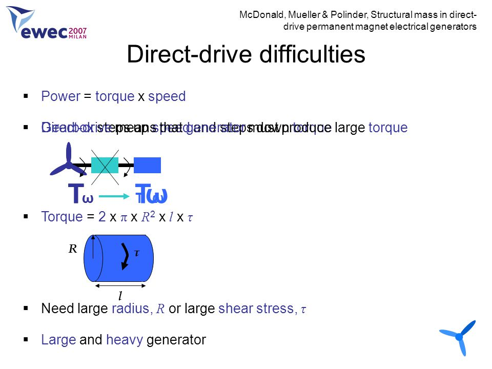 Direct-drive difficulties McDonald, Mueller & Polinder, Structural mass in direct- drive permanent magnet electrical generators  Power = torque x spe