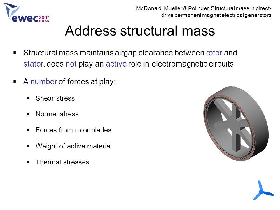 Address structural mass McDonald, Mueller & Polinder, Structural mass in direct- drive permanent magnet electrical generators  Structural mass mainta