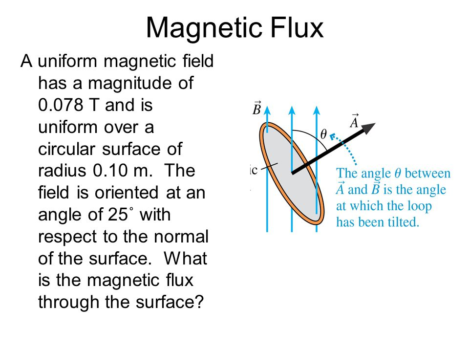 Magnetic Flux A uniform magnetic field has a magnitude of 0.078 T and is uniform over a circular surface of radius 0.10 m.