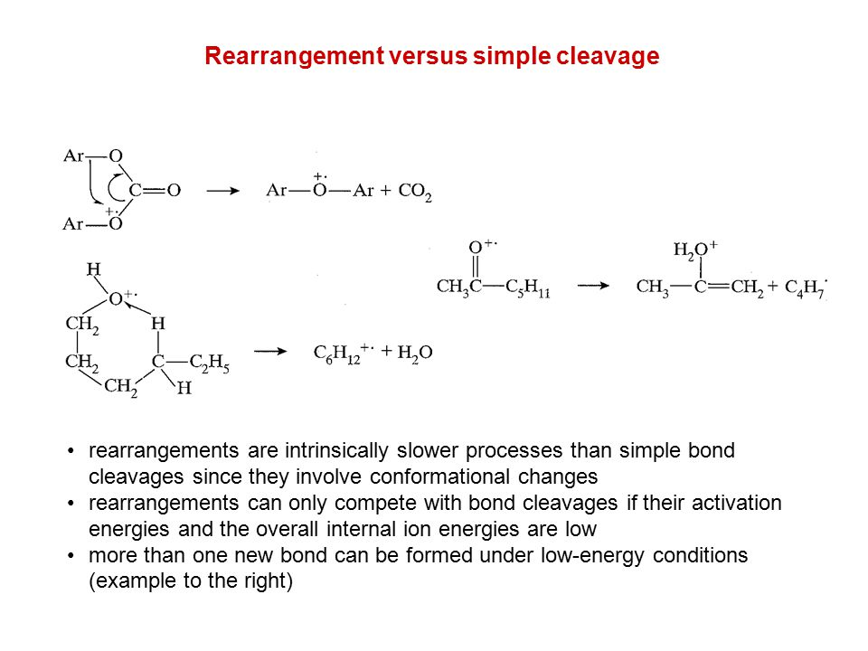 Rearrangement versus simple cleavage rearrangements are intrinsically slower processes than simple bond cleavages since they involve conformational ch
