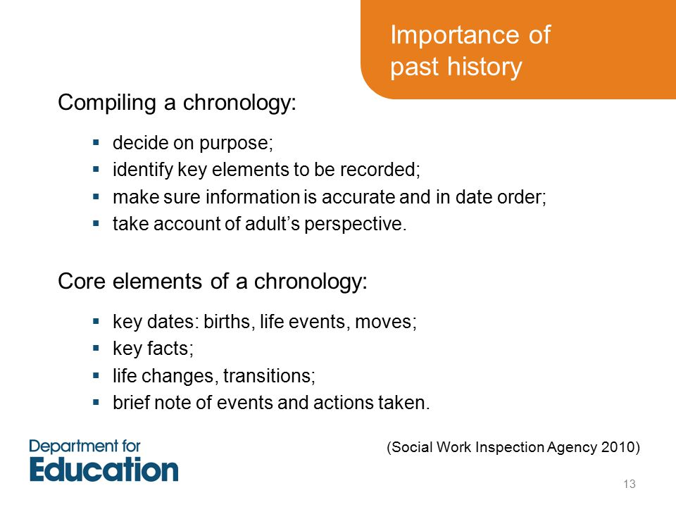 Compiling a chronology:  decide on purpose;  identify key elements to be recorded;  make sure information is accurate and in date order;  take account of adult's perspective.