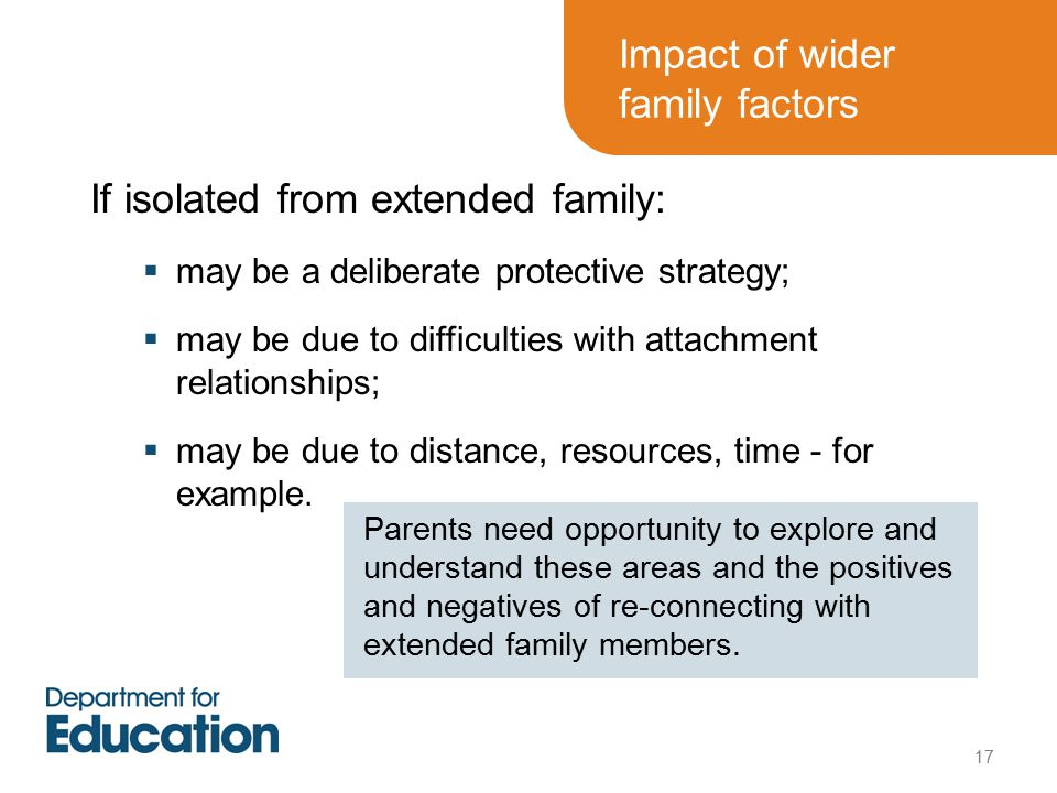 Impact of wider family factors If isolated from extended family:  may be a deliberate protective strategy;  may be due to difficulties with attachment relationships;  may be due to distance, resources, time - for example.
