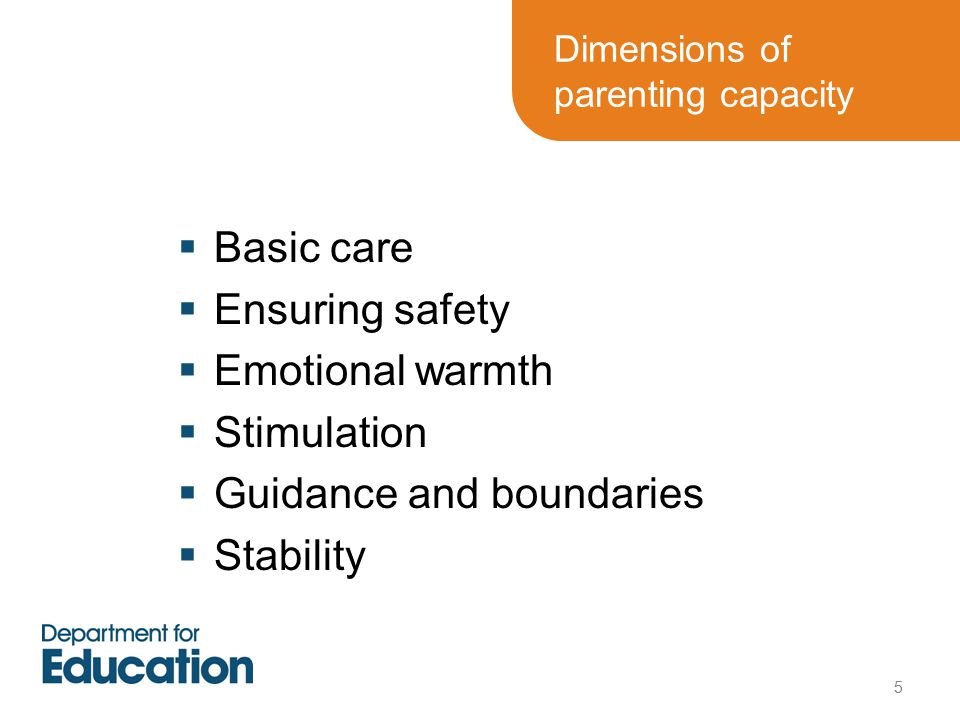 Dimensions of parenting capacity  Basic care  Ensuring safety  Emotional warmth  Stimulation  Guidance and boundaries  Stability 5