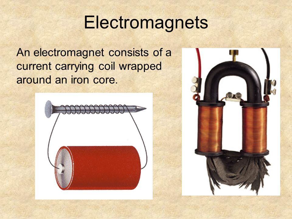Electromagnets An electromagnet consists of a current carrying coil wrapped around an iron core.