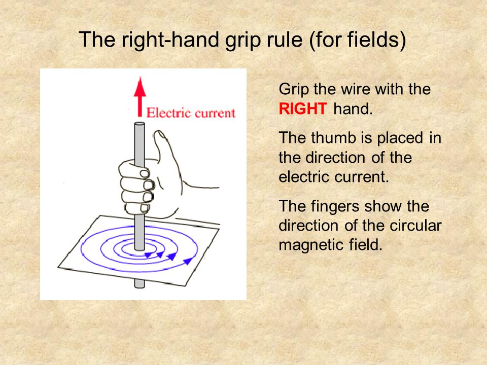 The right-hand grip rule (for fields) Grip the wire with the RIGHT hand. The thumb is placed in the direction of the electric current. The fingers sho