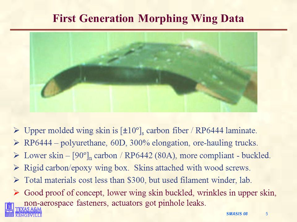 SMASIS 08 5 First Generation Morphing Wing Data  Upper molded wing skin is [±10º] s carbon fiber / RP6444 laminate.  RP6444 – polyurethane, 60D, 300