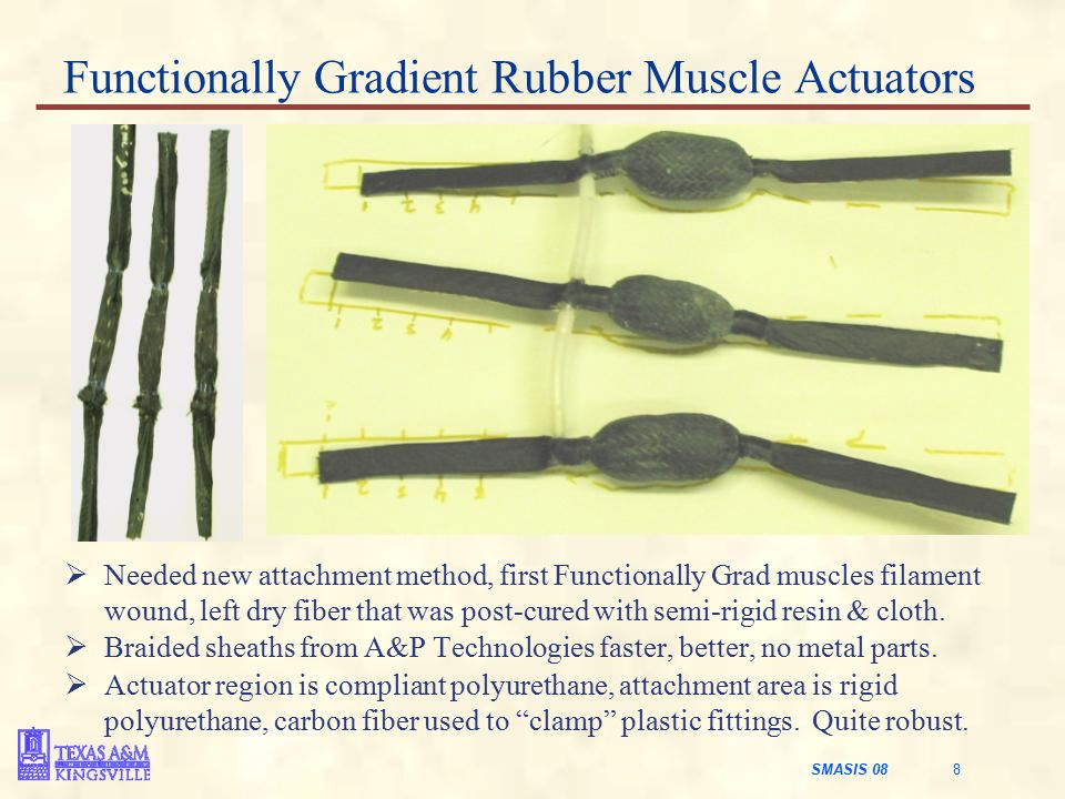 SMASIS 08 8 Functionally Gradient Rubber Muscle Actuators  Needed new attachment method, first Functionally Grad muscles filament wound, left dry fiber that was post-cured with semi-rigid resin & cloth.