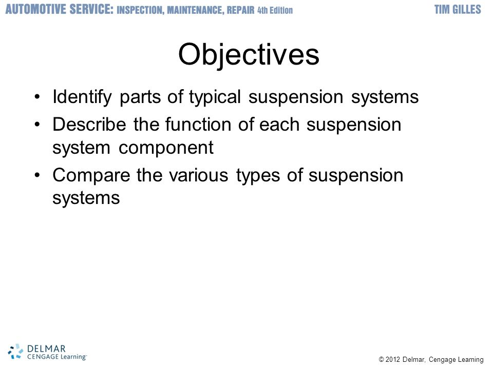 © 2012 Delmar, Cengage Learning Objectives Identify parts of typical suspension systems Describe the function of each suspension system component Comp