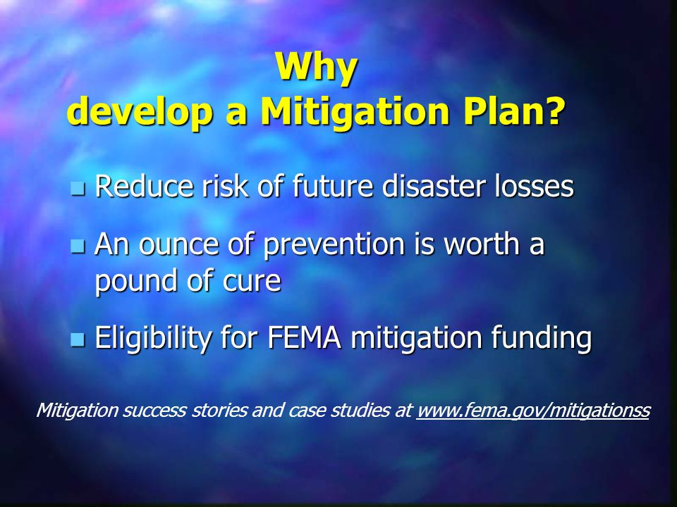 Hazard Mitigation Examples n Acquisition of homes n Elevation of utilities n Building codes n Public education