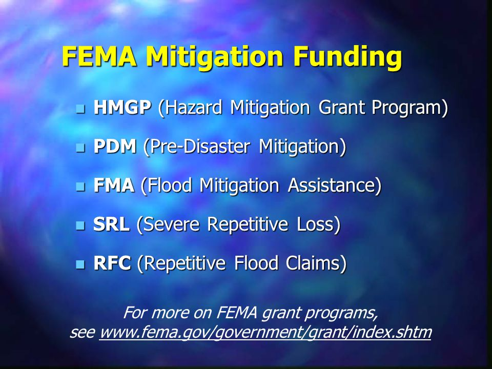 n Independent study of FEMA grants n $1 in mitigation -> $4 saved n 220 lives and 4700 injuries over 50 yrs Report available at www.nibs.org/MMC/mmcac