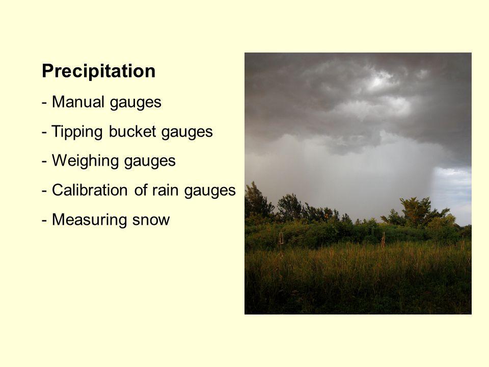 Precipitation - Manual gauges - Tipping bucket gauges - Weighing gauges - Calibration of rain gauges - Measuring snow