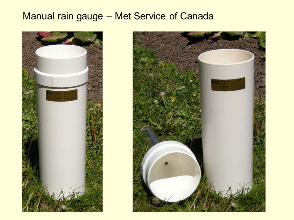 Manual rain gauge – Met Service of Canada