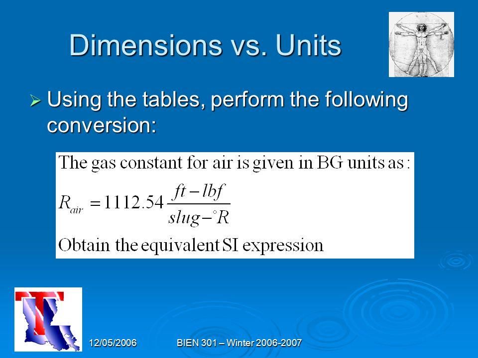 12/05/2006BIEN 301 – Winter 2006-2007 Dimensions vs.