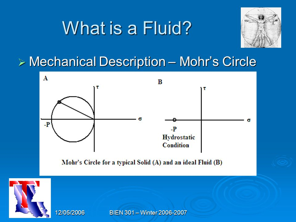12/05/2006BIEN 301 – Winter 2006-2007 What is a Fluid?  Mechanical Description – Mohr's Circle
