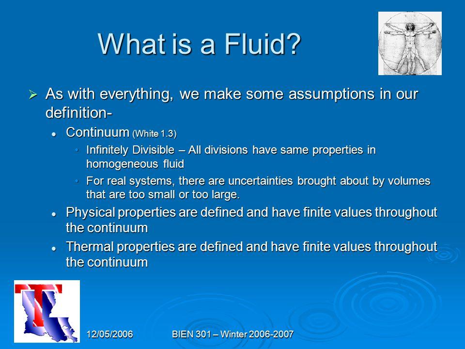 12/05/2006BIEN 301 – Winter 2006-2007 What is a Fluid.