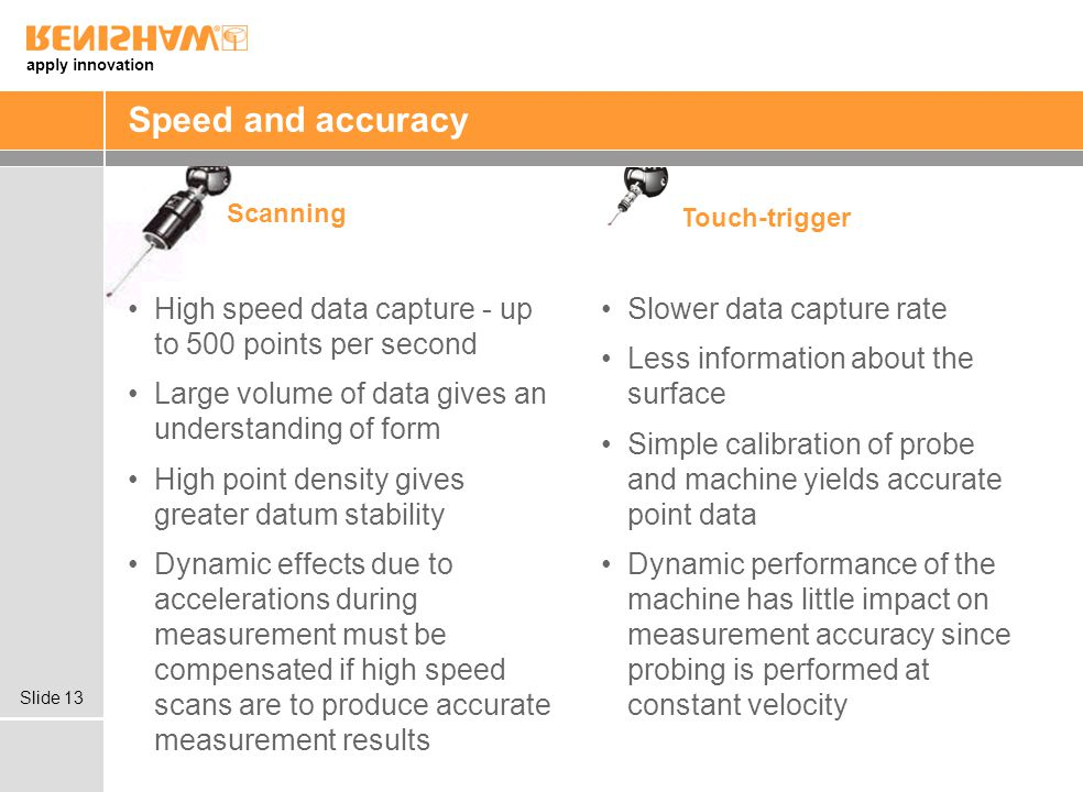 apply innovation Slide 13 Speed and accuracy High speed data capture - up to 500 points per second Large volume of data gives an understanding of form High point density gives greater datum stability Dynamic effects due to accelerations during measurement must be compensated if high speed scans are to produce accurate measurement results Slower data capture rate Less information about the surface Simple calibration of probe and machine yields accurate point data Dynamic performance of the machine has little impact on measurement accuracy since probing is performed at constant velocity Scanning Touch-trigger