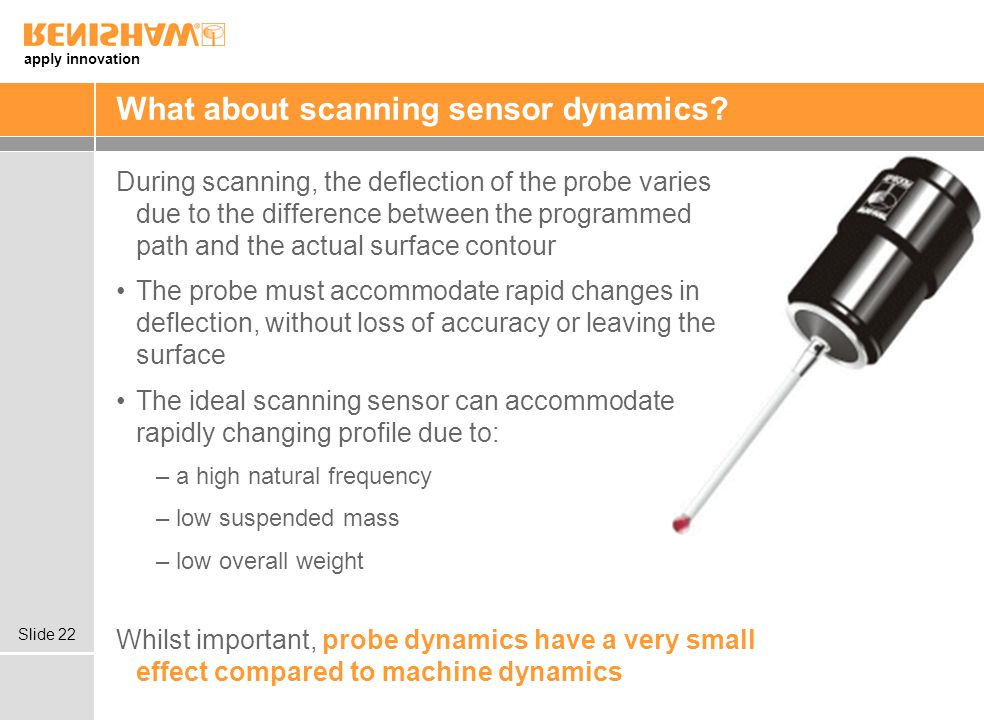 apply innovation Slide 22 What about scanning sensor dynamics? During scanning, the deflection of the probe varies due to the difference between the p