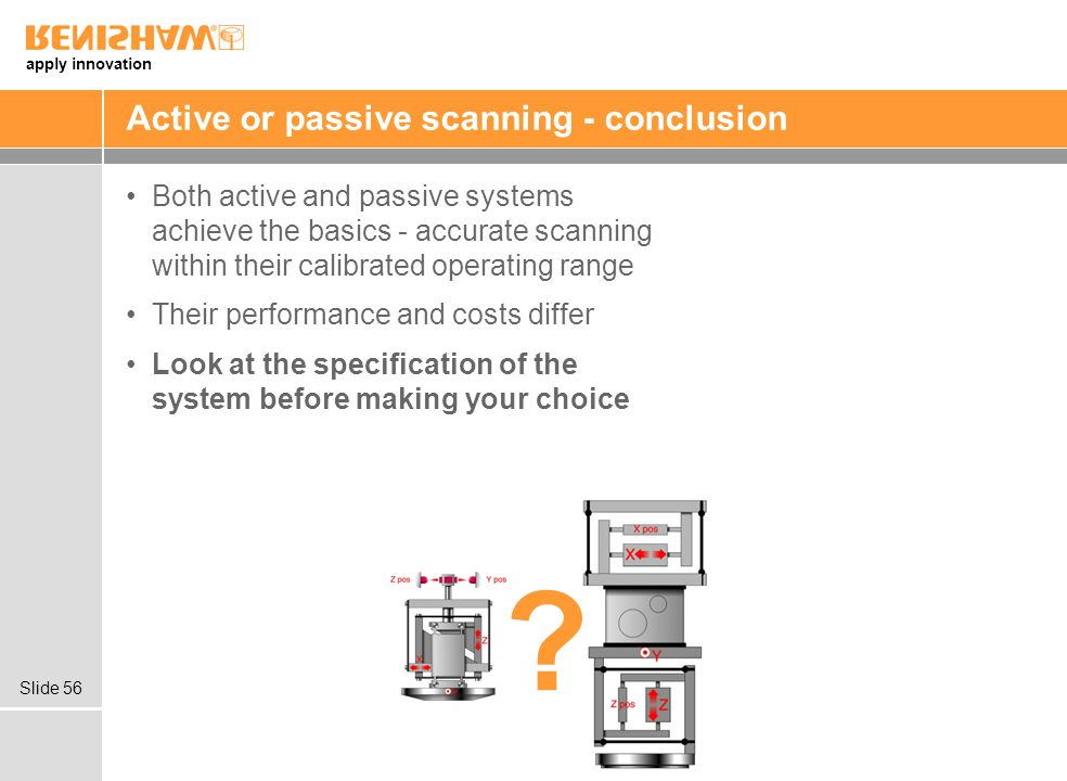apply innovation Slide 56 Active or passive scanning - conclusion Both active and passive systems achieve the basics - accurate scanning within their calibrated operating range Their performance and costs differ Look at the specification of the system before making your choice ?
