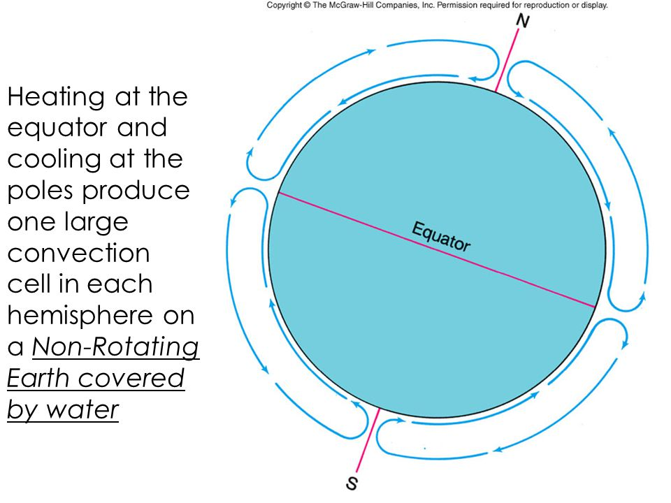 Heating at the equator and cooling at the poles produce one large convection cell in each hemisphere on a Non-Rotating Earth covered by water