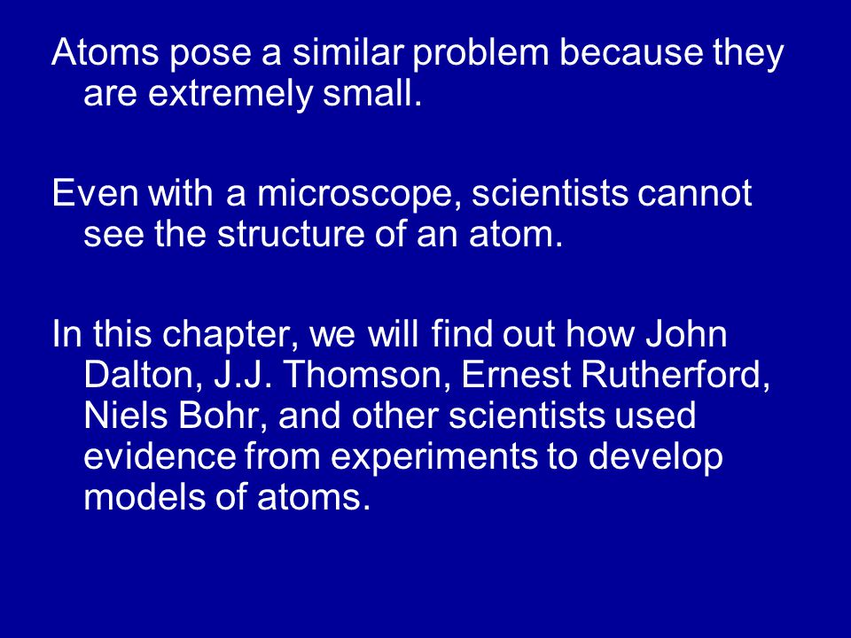 Atoms pose a similar problem because they are extremely small. Even with a microscope, scientists cannot see the structure of an atom. In this chapter