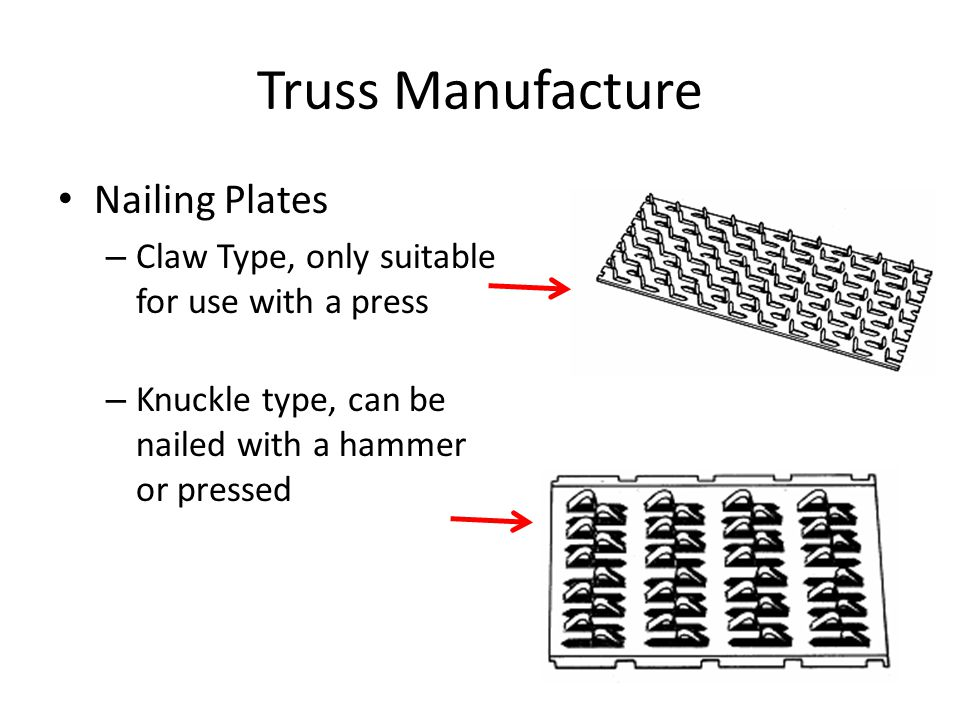 Truss Manufacture Nailing Plates – Claw Type, only suitable for use with a press – Knuckle type, can be nailed with a hammer or pressed