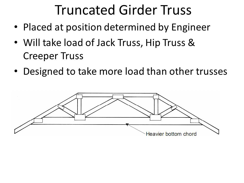 Truncated Girder Truss Placed at position determined by Engineer Will take load of Jack Truss, Hip Truss & Creeper Truss Designed to take more load th