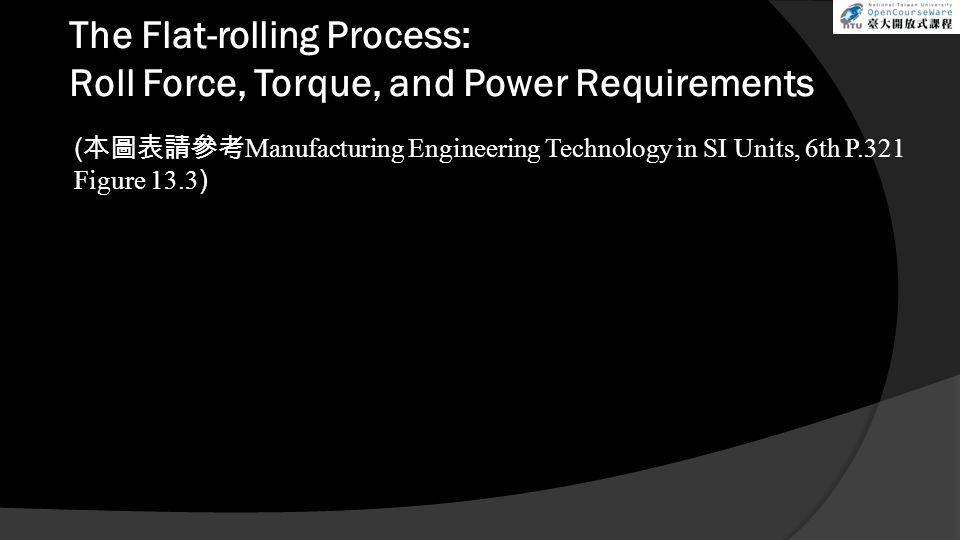 The Flat-rolling Process: Roll Force, Torque, and Power Requirements ( 本圖表請參考 Manufacturing Engineering Technology in SI Units, 6th P.321 Figure 13.3 )