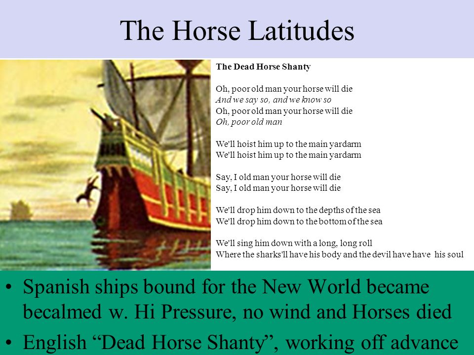 The Horse Latitudes Spanish ships bound for the New World became becalmed w.