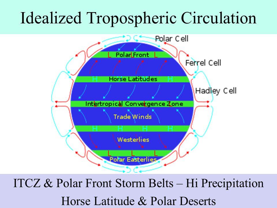 Idealized Tropospheric Circulation ITCZ & Polar Front Storm Belts – Hi Precipitation Horse Latitude & Polar Deserts