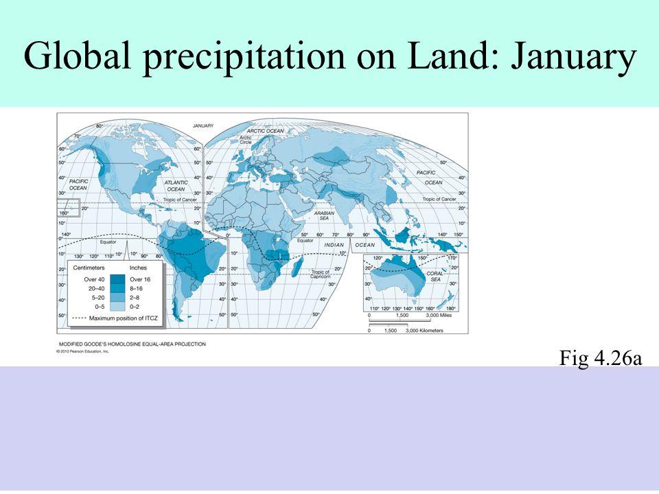 Global precipitation on Land: January Fig 4.26a