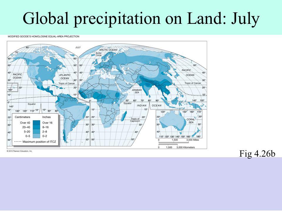 Global precipitation on Land: July Fig 4.26b