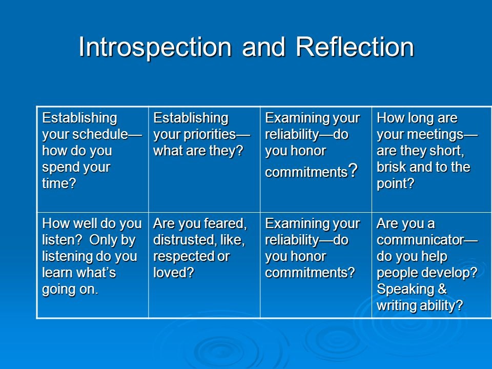 Introspection and Reflection Establishing your schedule— how do you spend your time.
