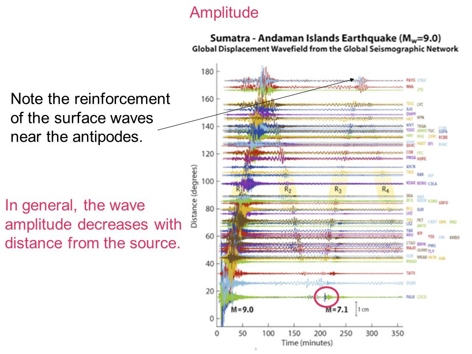 Amplitude In general, the wave amplitude decreases with distance from the source. Note the reinforcement of the surface waves near the antipodes.