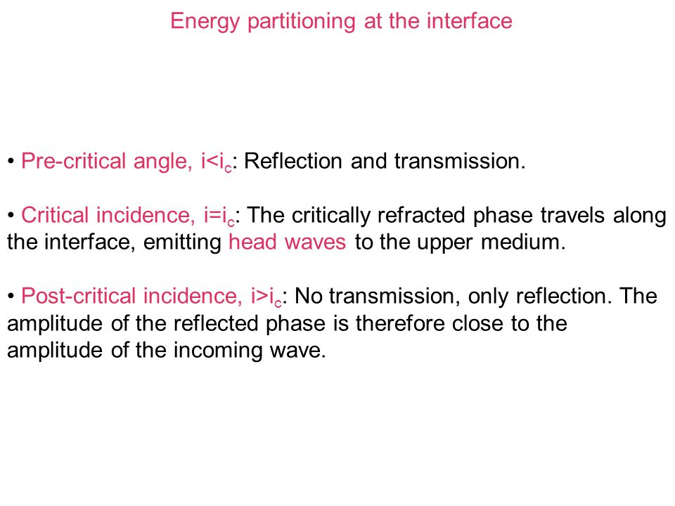 Energy partitioning at the interface Pre-critical angle, i<i c : Reflection and transmission. Critical incidence, i=i c : The critically refracted pha