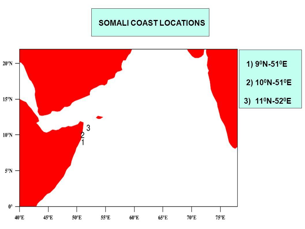 SOMALI COAST LOCATIONS 1) 9 0 N-51 0 E 2) 10 0 N-51 0 E 3) 11 0 N-52 0 E