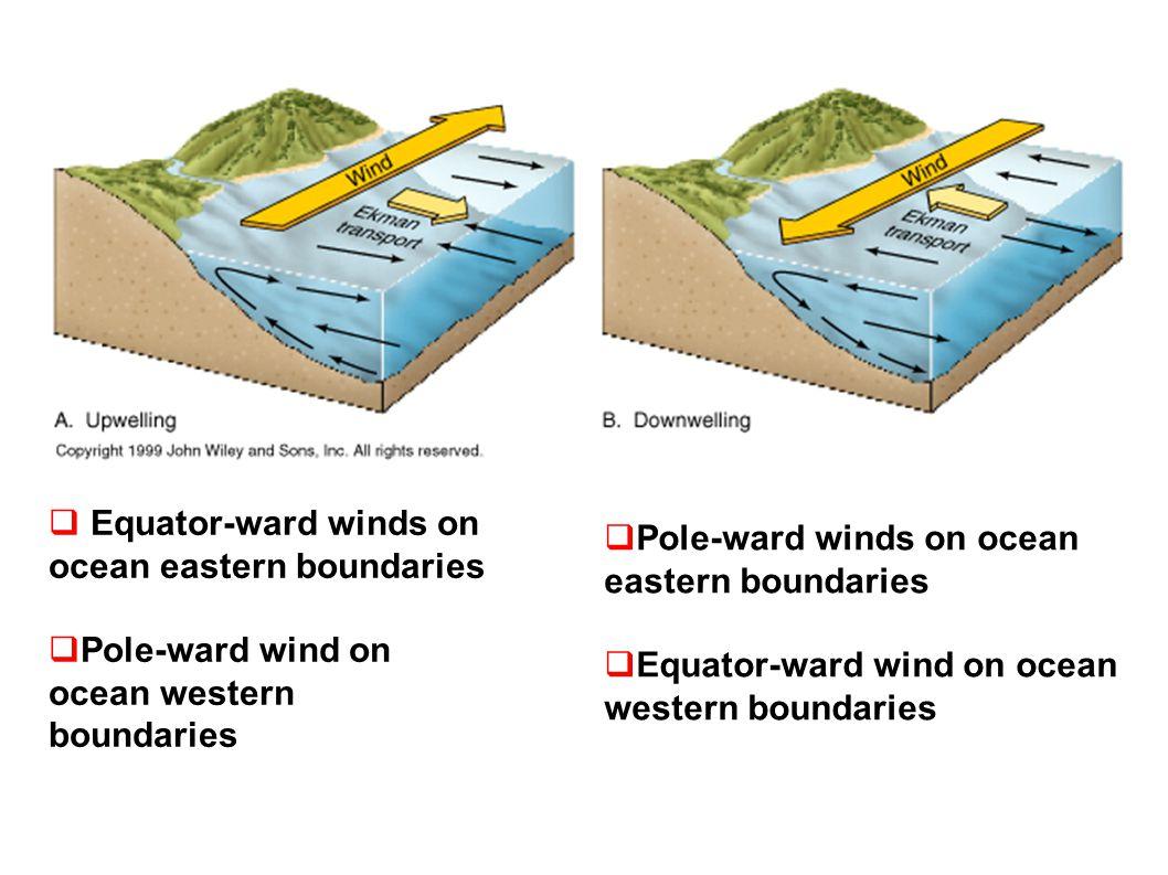 Equator-ward winds on ocean eastern boundaries Pole-ward wind on ocean western boundaries  Pole-ward winds on ocean eastern boundaries  Equator-ward