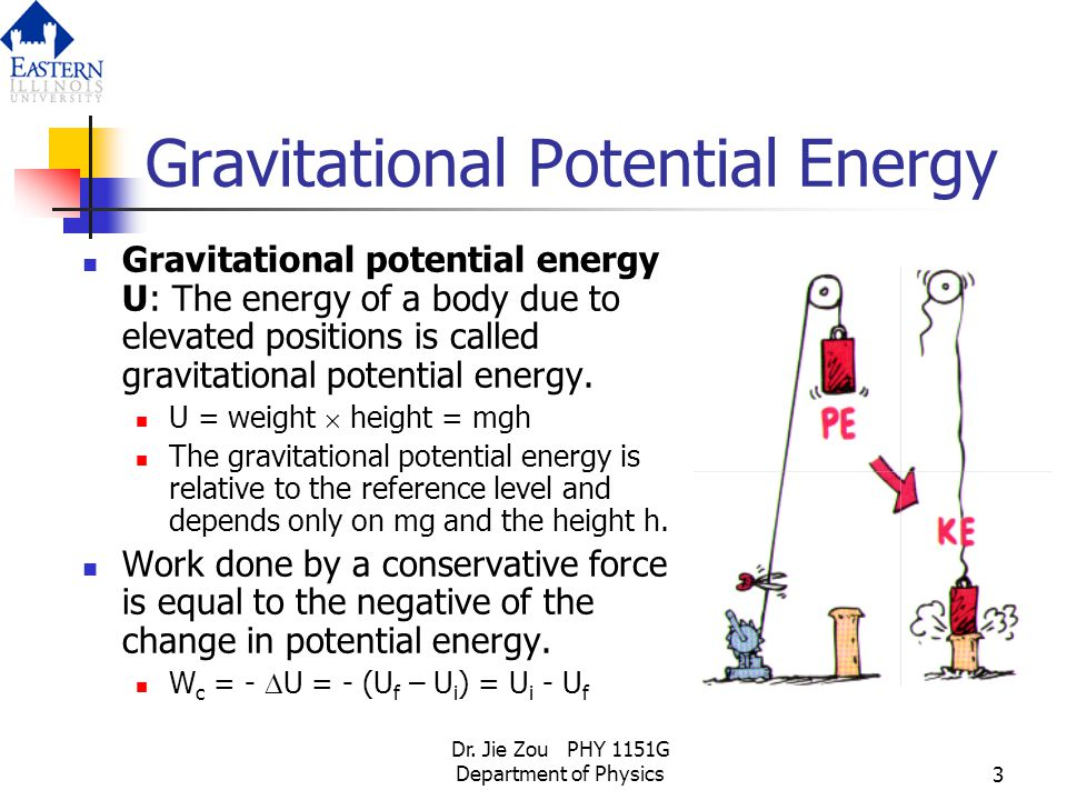 Dr. Jie Zou PHY 1151G Department of Physics3 Gravitational Potential Energy Gravitational potential energy U: The energy of a body due to elevated pos