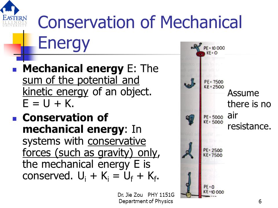 Dr. Jie Zou PHY 1151G Department of Physics6 Conservation of Mechanical Energy Mechanical energy E: The sum of the potential and kinetic energy of an