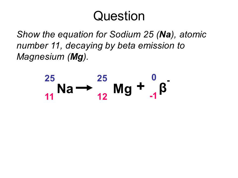 Question Show the equation for Sodium 25 (Na), atomic number 11, decaying by beta emission to Magnesium (Mg).
