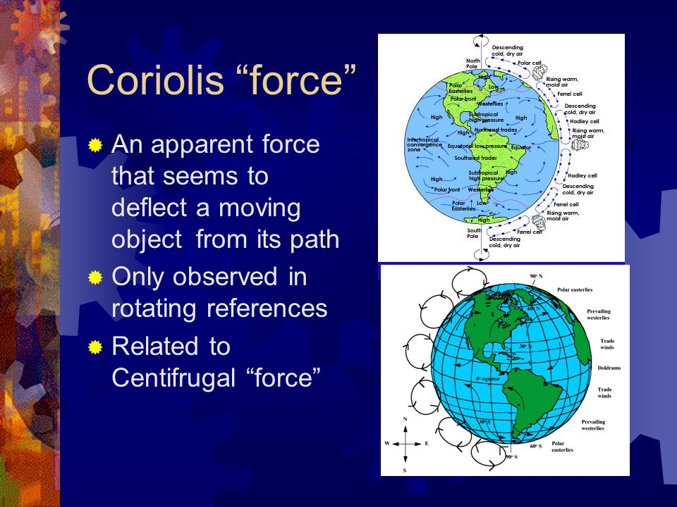 Coriolis force  An apparent force that seems to deflect a moving object from its path  Only observed in rotating references  Related to Centifrugal force