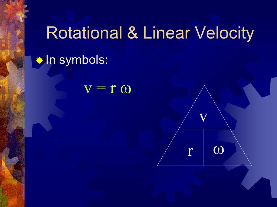 Rotational & Linear Velocity  In symbols: v = r  v r 