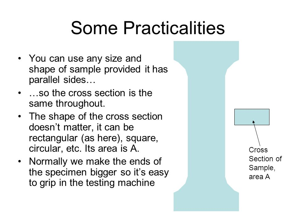 Some Practicalities You can use any size and shape of sample provided it has parallel sides… …so the cross section is the same throughout. The shape o