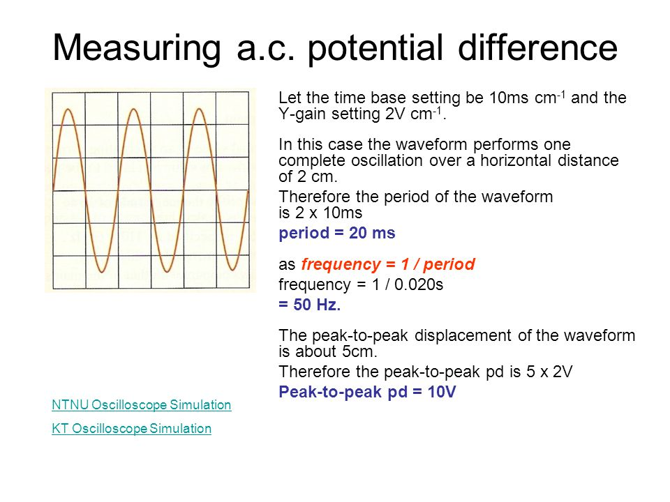 Measuring a.c. potential difference Let the time base setting be 10ms cm -1 and the Y-gain setting 2V cm -1. In this case the waveform performs one co