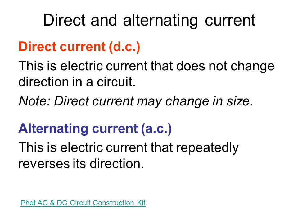 6.1 Alternating current and power Notes from Breithaupt pages 74 to 76 1.Explain what is meant by alternating current 2.Draw figure 1 on page 74 and define what is meant in the context of a.c.