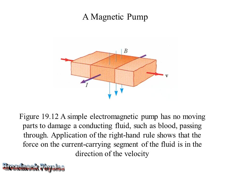 A Magnetic Pump Figure 19.12 A simple electro­magnetic pump has no moving parts to damage a conducting fluid, such as blood, passing through.