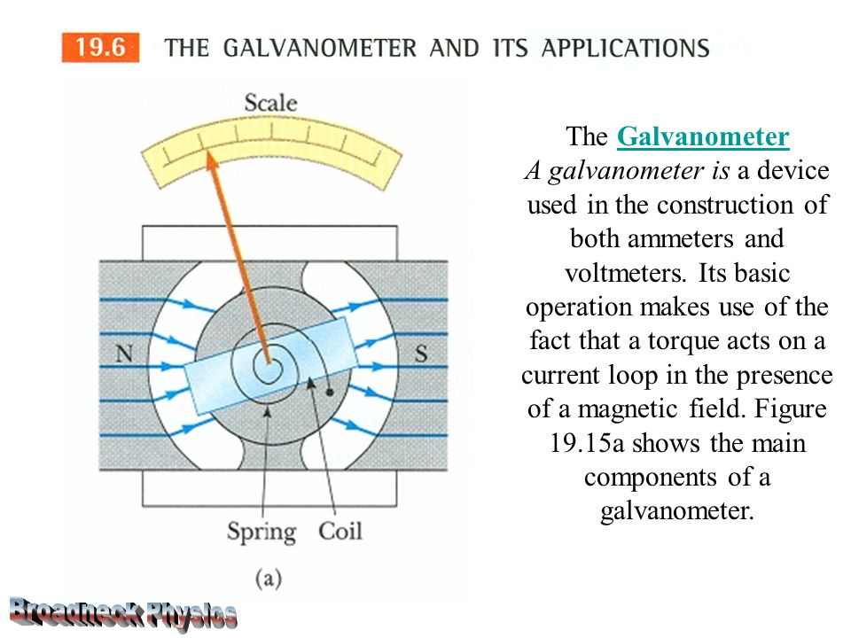 The GalvanometerGalvanometer A galvanometer is a device used in the construction of both ammeters and voltmeters.