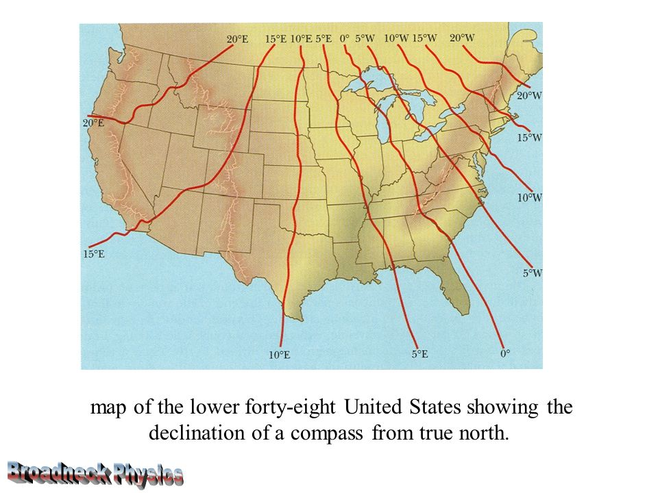 map of the lower forty-eight United States showing the declination of a compass from true north.