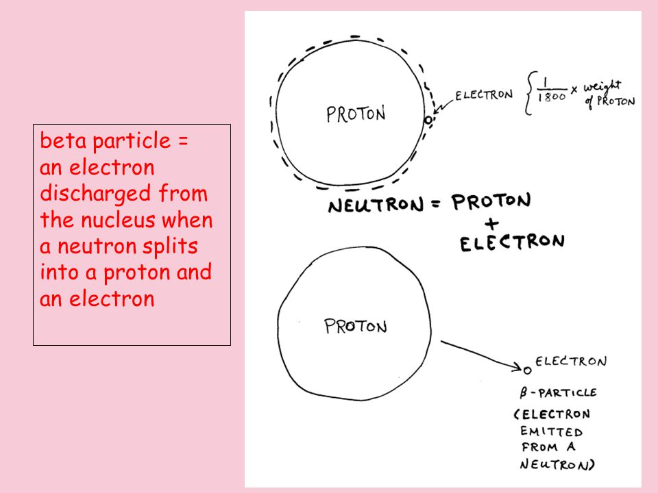 Title beta particle = an electron discharged from the nucleus when a neutron splits into a proton and an electron