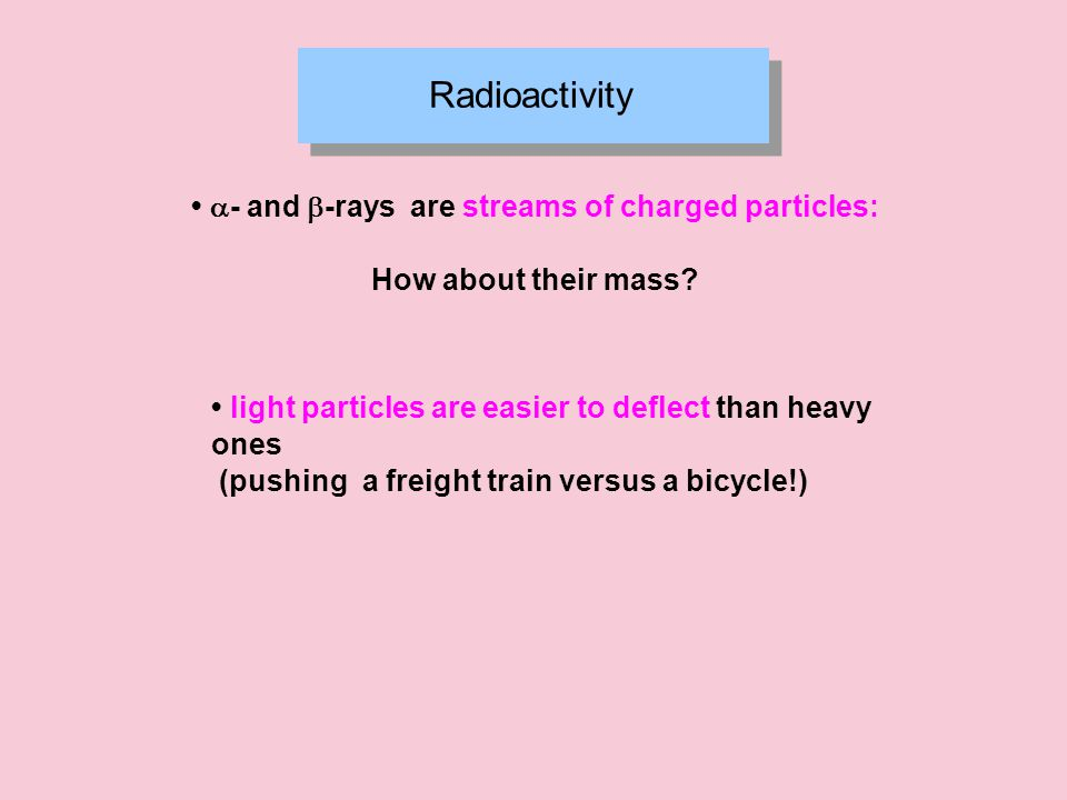 Radioactivity  - and  -rays are streams of charged particles: How about their mass.